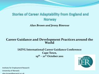 Stories of Career Adaptability from England and Norway