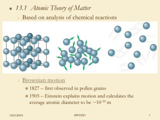 13.1  Atomic Theory of Matter Based on analysis of chemical reactions Brownian motion