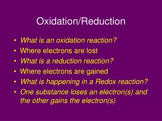 Oxidation/Reduction