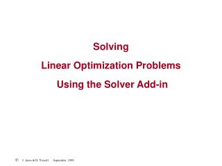 Solving  Linear Optimization Problems  Using the Solver Add-in