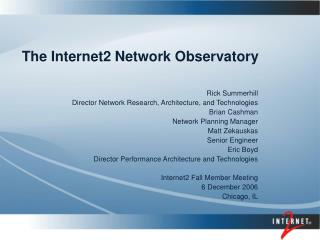 The Internet2 Network Observatory