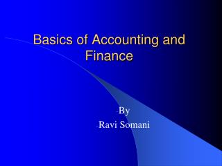 Basics of Accounting and Finance
