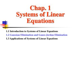Chap. 1 Systems of Linear Equations