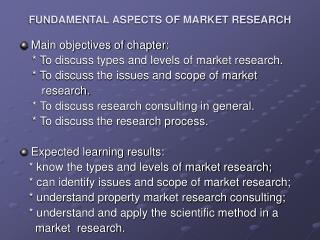 FUNDAMENTAL ASPECTS OF MARKET RESEARCH