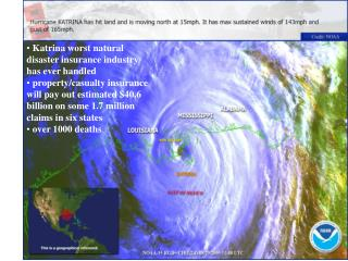 Katrina worst natural disaster insurance industry has ever handled