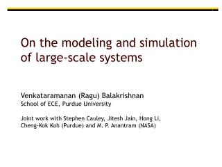 On the modeling and simulation of large-scale systems