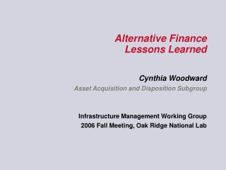 Alternative Finance Lessons Learned