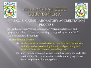 Government  Code Subchapter A