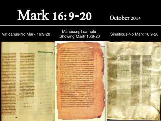 Mark 16:9-20       October 2014