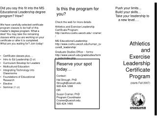 Athletics and Exercise Leadership Certificate Program