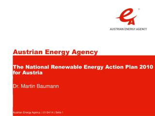 The National Renewable Energy Action Plan 2010 for Austria