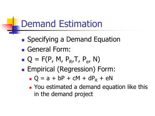 Demand Estimation