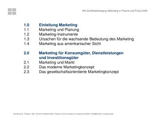 1.0	       Einleitung Marketing 1.1         Marketing und Planung