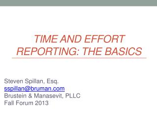 Time and Effort Reporting: The Basics