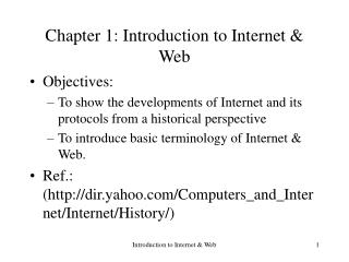 Chapter 1: Introduction to Internet & Web