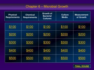 Chapter 6 – Microbial Growth