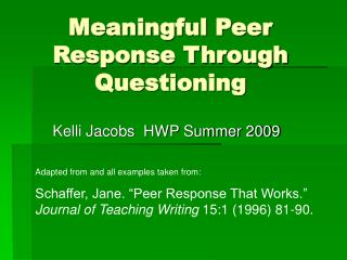 Meaningful Peer Response Through Questioning