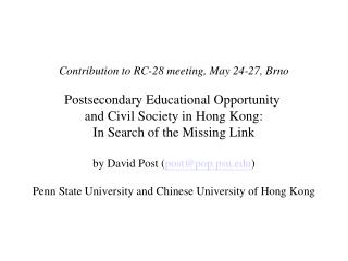 Contribution to RC-28 meeting, May 24-27, Brno Postsecondary Educational Opportunity