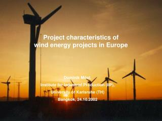Project characteristics of  wind energy projects in Europe