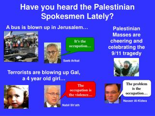Have you heard the Palestinian Spokesmen Lately?