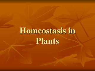 Homeostasis in Plants