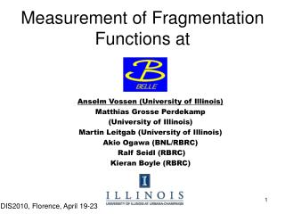 Measurement of Fragmentation  Functions at