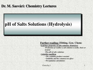 pH of Salts Solutions (Hydrolysis)
