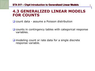 4.3 GENERALIZED LINEAR MODELS FOR COUNTS