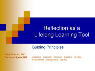 Reflection as a  Lifelong Learning Tool