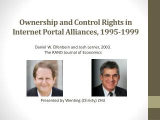 O wnership and Control Rights in Internet Portal Alliances, 1995-1999
