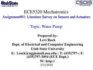 ECE5320 Mechatronics Assignment#01: Literature Survey on Sensors and Actuators  Topic: Water Pump