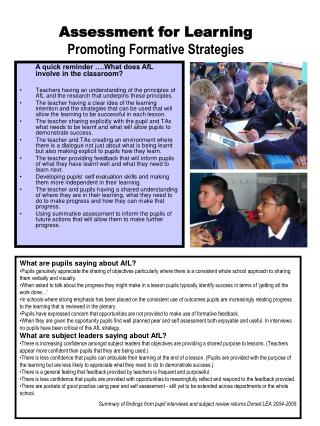 Assessment for Learning Promoting Formative Strategies