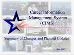 Career Information  Management System CIMS