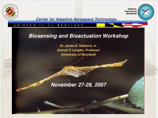 Biosensing and Bioactuation Workshop By Dr. James E. Hubbard, Jr. Samuel P. Langley  Professor