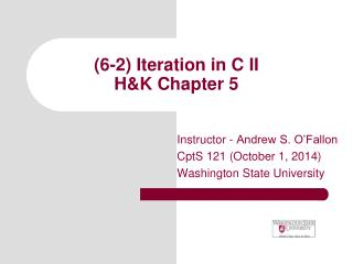(6-2) Iteration in C II  H&K Chapter 5