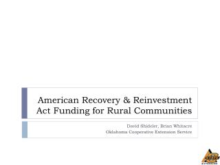 American Recovery & Reinvestment Act Funding for Rural Communities