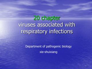 20 chapter viruses associated with respiratory infections