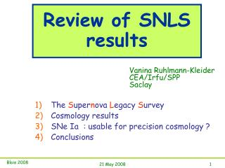 Review of SNLS results