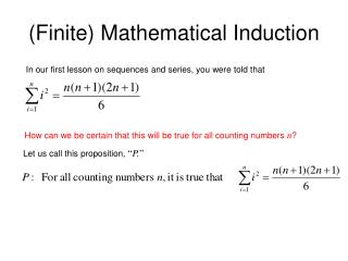 (Finite) Mathematical Induction