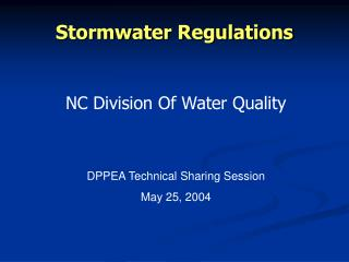 Stormwater Regulations