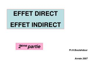EFFET DIRECT EFFET INDIRECT