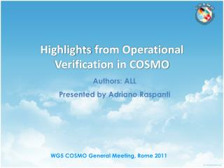 Highlights from Operational Verification  in COSMO