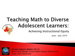 Teaching Math to Diverse Adolescent Learners: