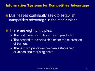 Information Systems for Competitive Advantage