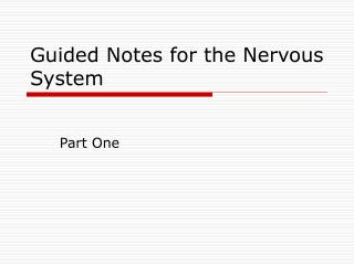 Guided Notes for the Nervous System