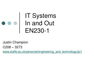IT Systems In and Out EN230-1