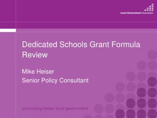 Dedicated Schools Grant Formula Review