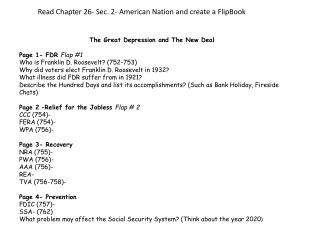 The Great Depression and The New Deal Page 1-  FDR  Flap #1