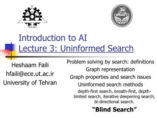 Introduction to AI Lecture 3: Uninformed Search