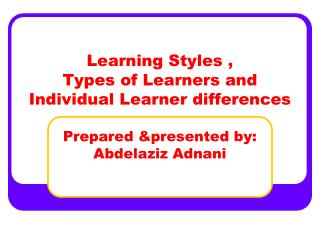 What's a Learning Style?